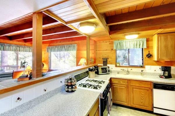 kitchen backsplash design lysol cleaner 在小木屋房子里的厨房内饰 — 图库照片©iriana88w#48348329