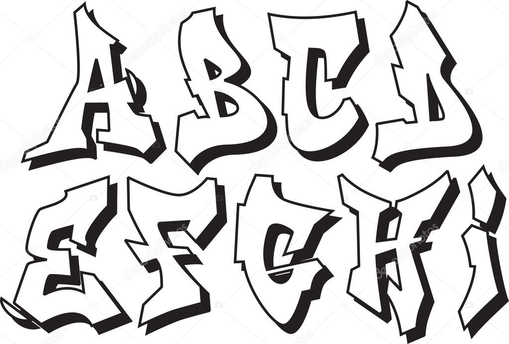 Vector graffiti alphabet part 1 — Stock Vector © odes