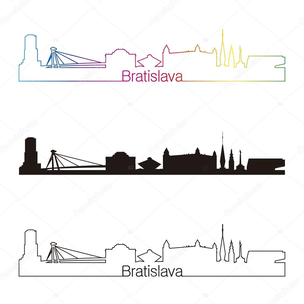 Style Lineaire De Bratislava Skyline Avec Arc En Ciel