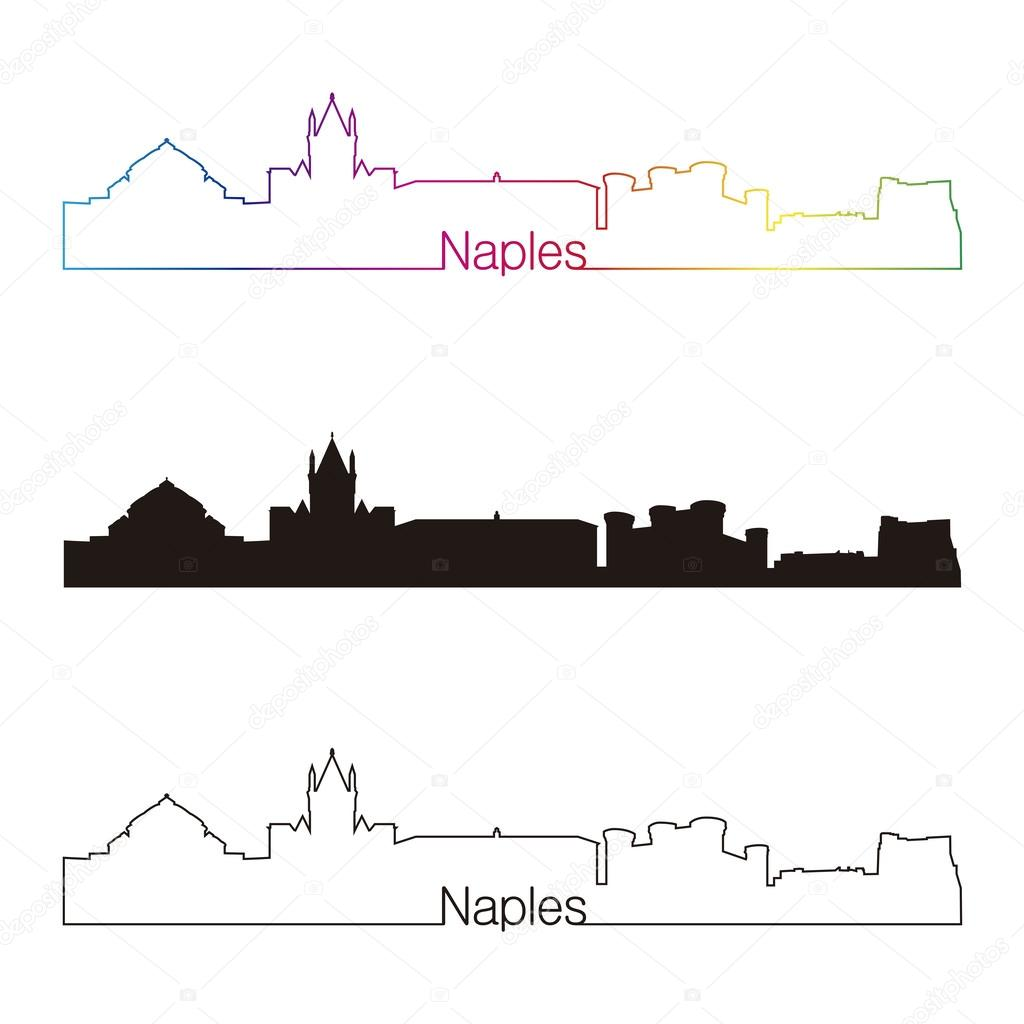 Naples Skyline Linear Style With Rainbow