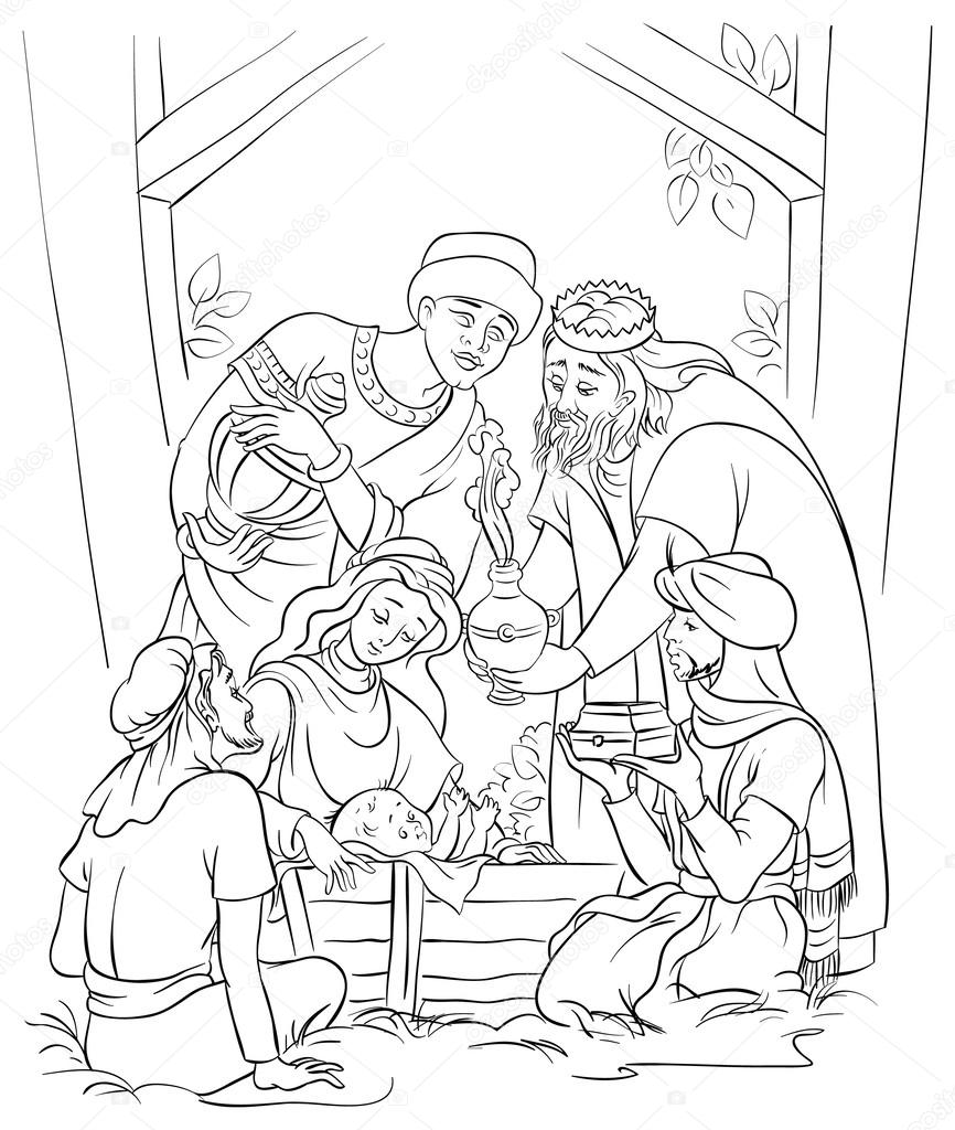 Jesus, Mary, Joseph and the Three Kings. Coloring page