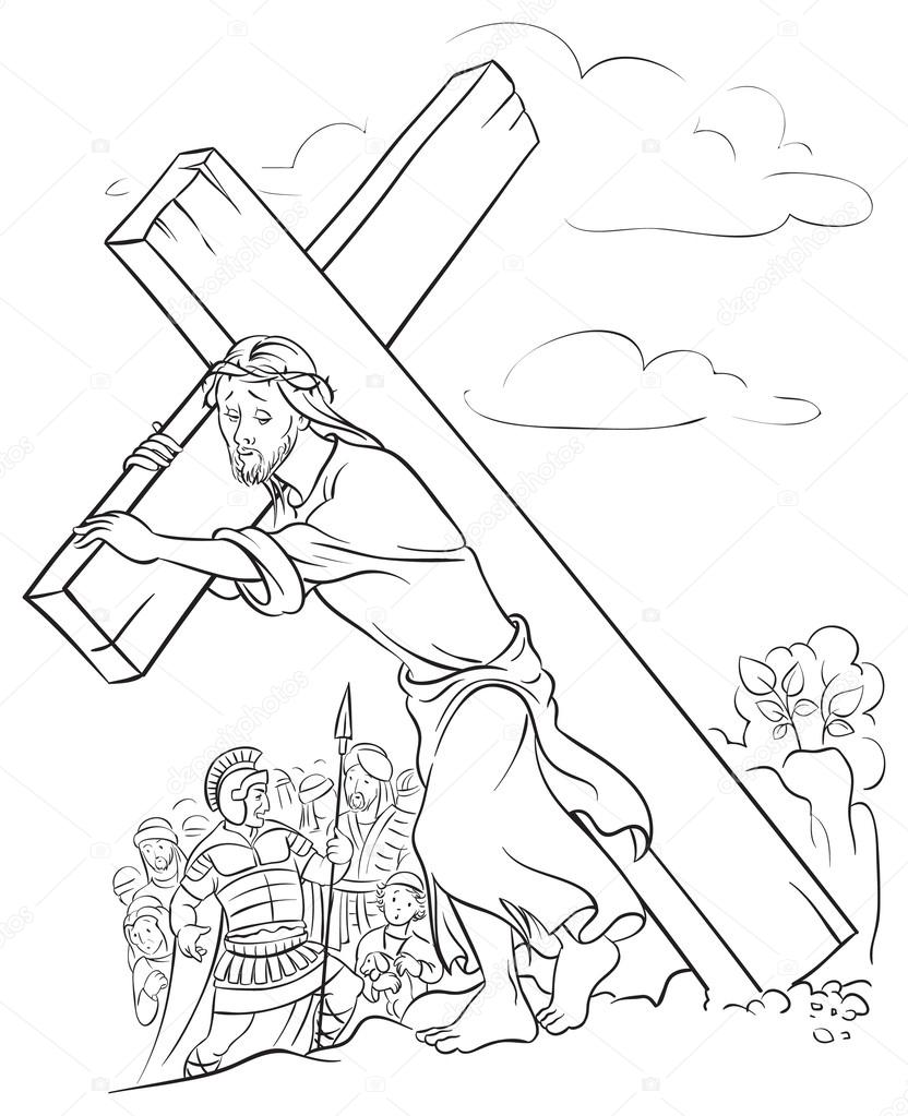 Black and white illustration of Jesus Christ carrying