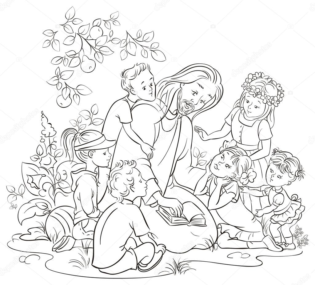 Colouring page vector Jesus reading the Bible with