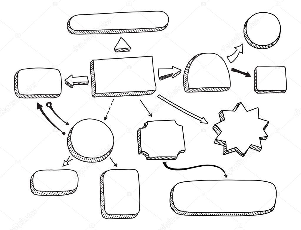 Vectores: diagrama de flujo de ilustraciones y texto