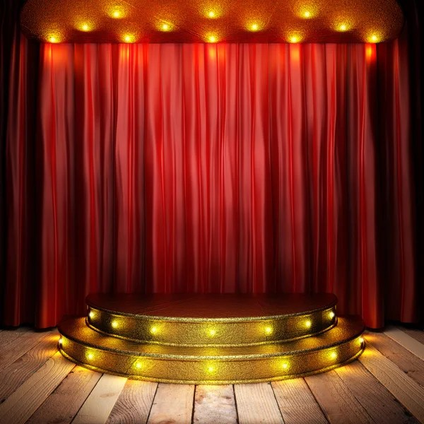 red fabric curtain on golden stage stock images page everypixel