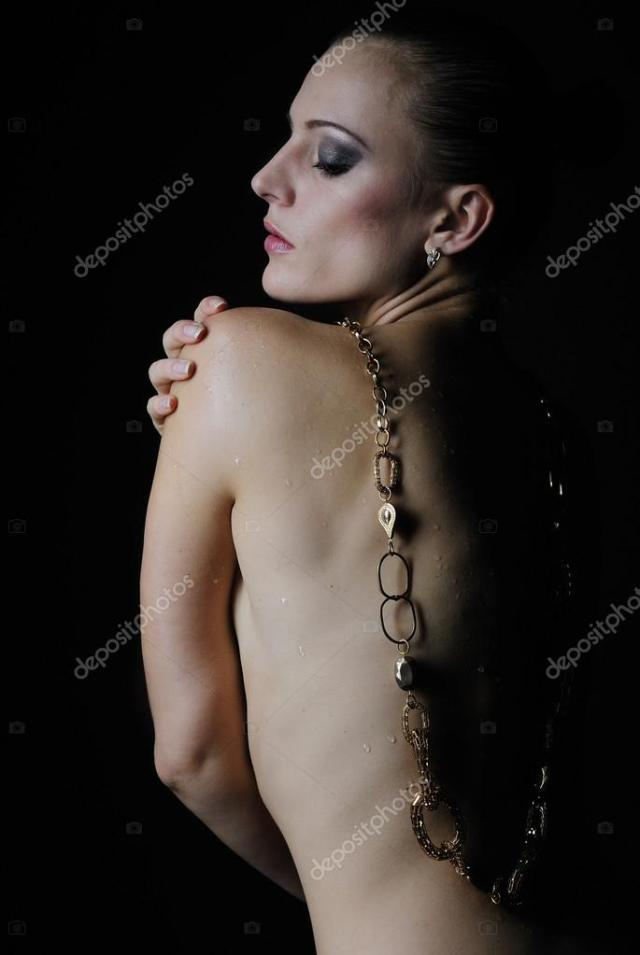 Beautiful Girl Model With Wet Body On Dark Background Photo By Leno4ek84