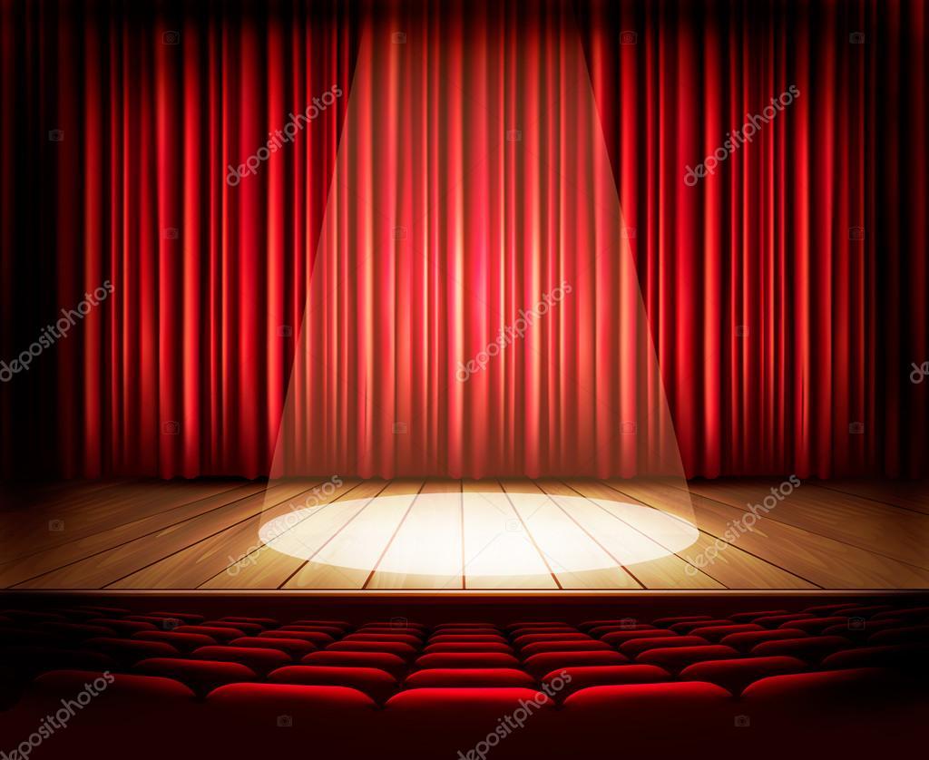 Escenario de un teatro con una cortina roja asientos y un