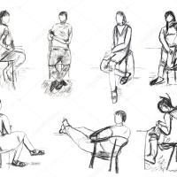 Kinderzeichnung   Skizzen von Personenbewegungen ...