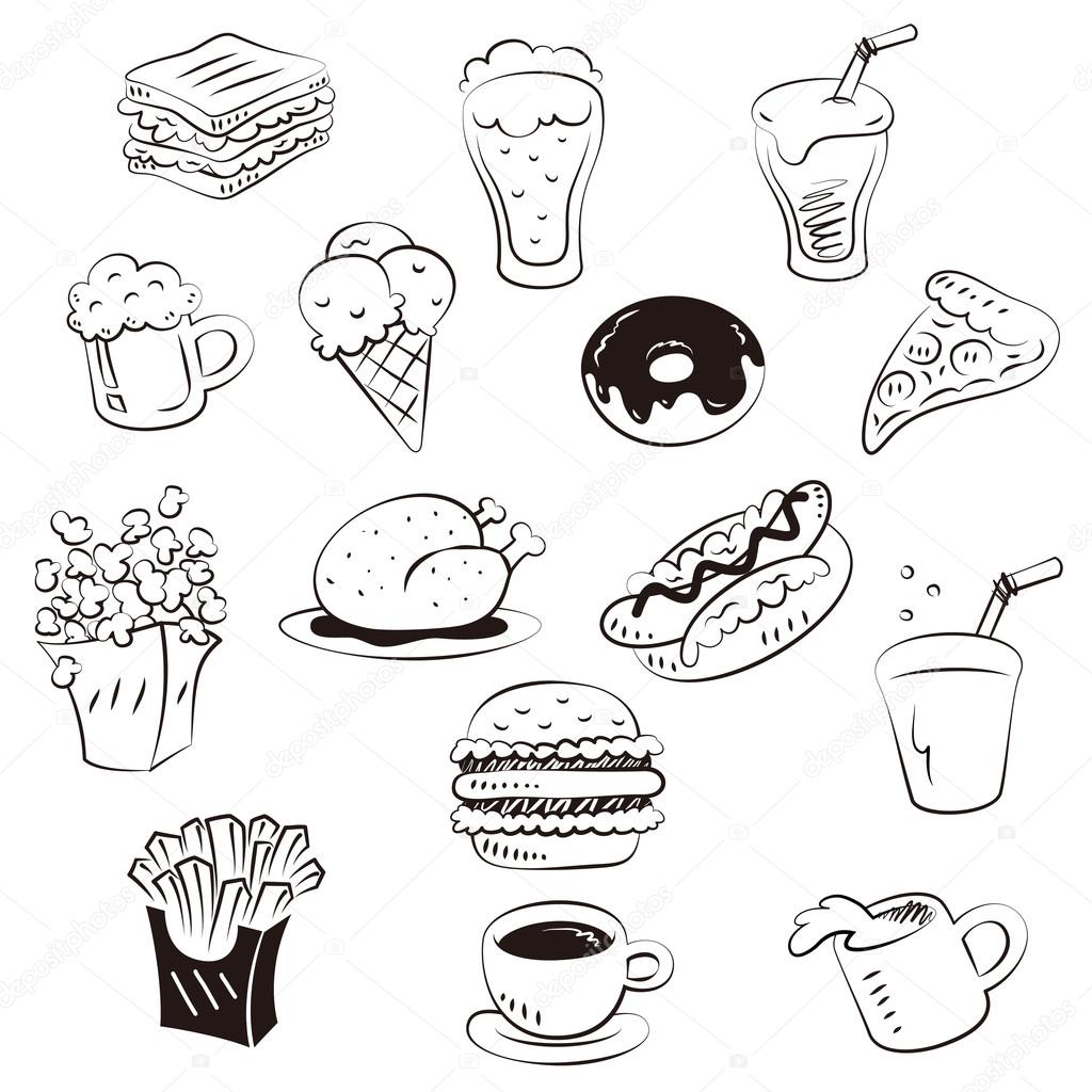 Hand draw foods in doodle style — Stock Vector © dapoomll