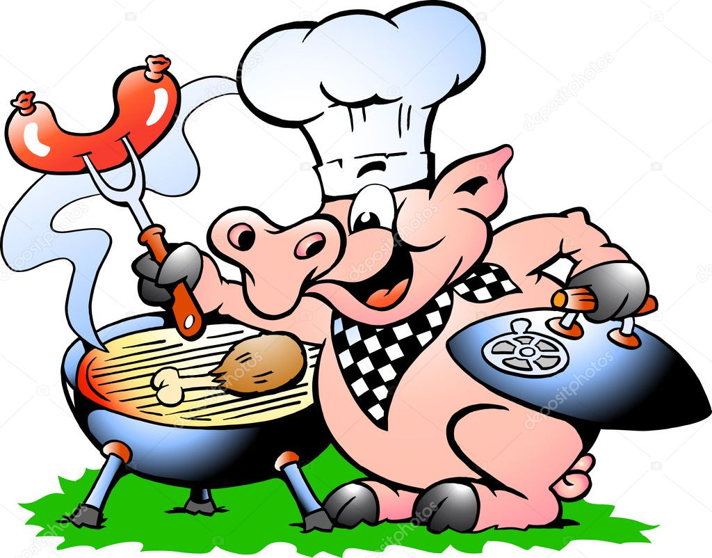 pig standing and making bbq stock vector drawshop 18965123