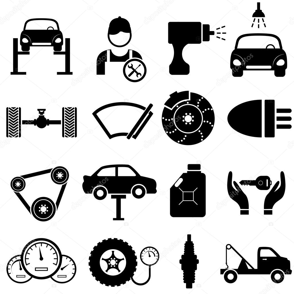 Car maintenance and repair — Stock Vector © soleilc #23237394