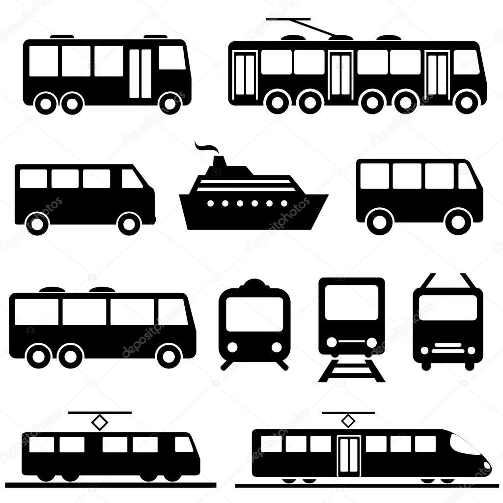 Conjunto de iconos de transporte público — Vector de stock