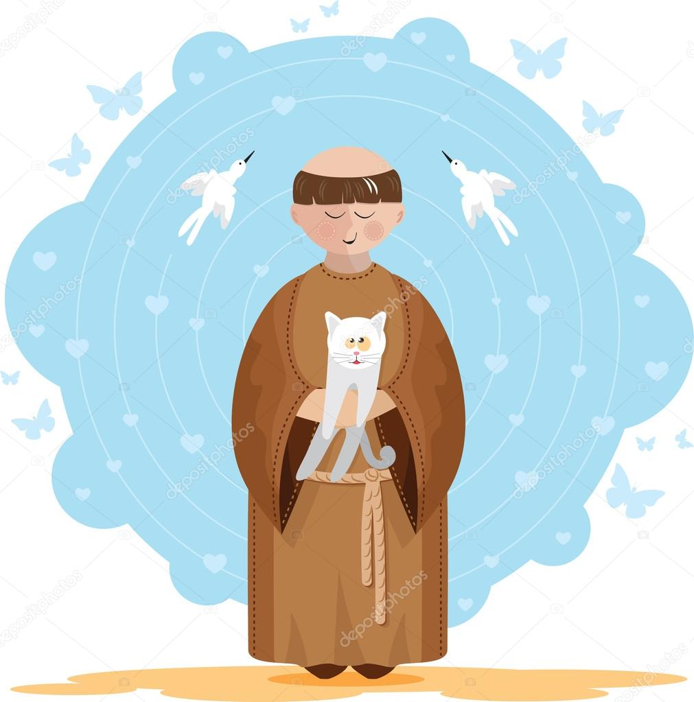 Dreaming About Wallpaper Falling Off St Francis Of Assisi With Kitten Stock Vector 169 Anaklea