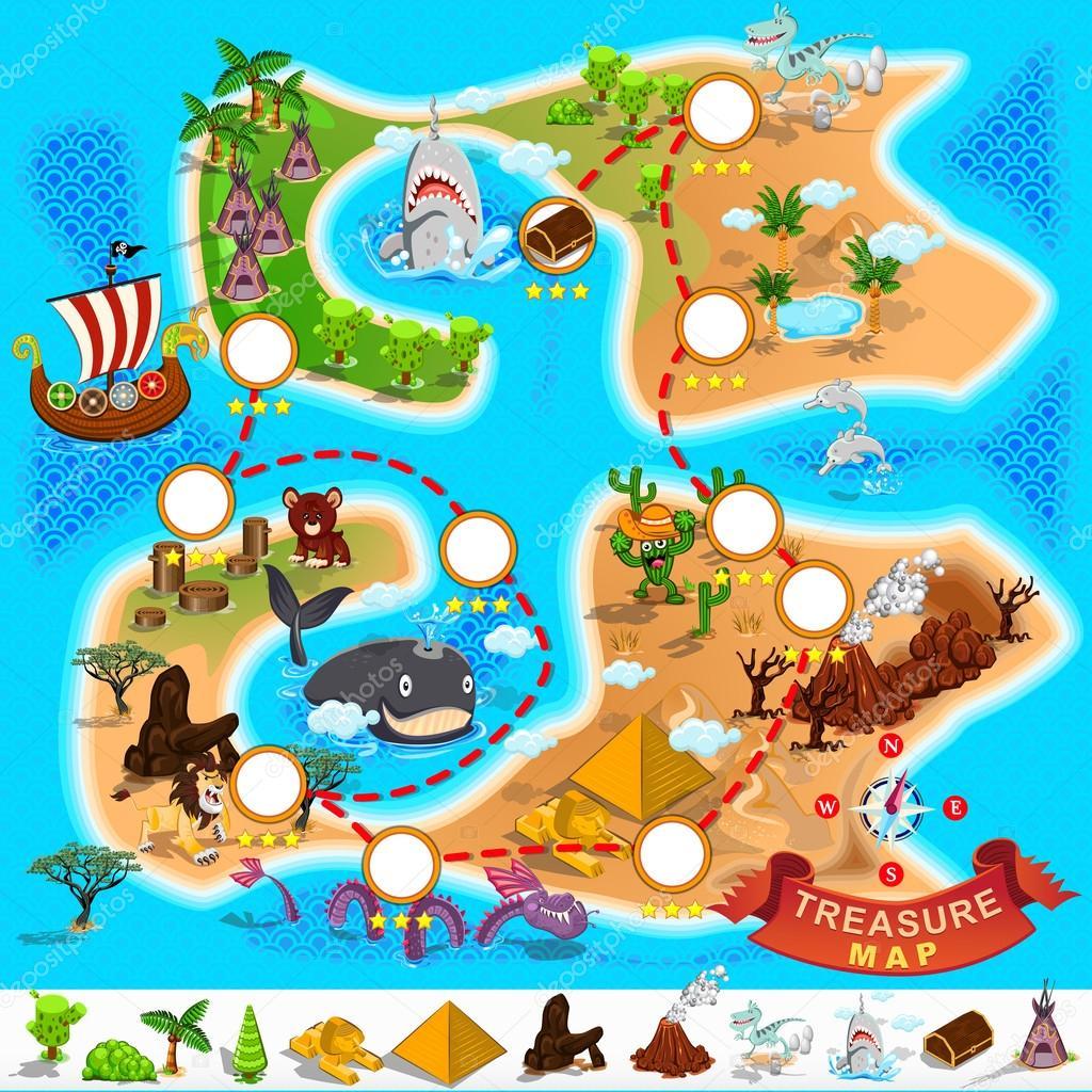 Pirate Treasure Map Stock Vector C Brancaescova 37039857