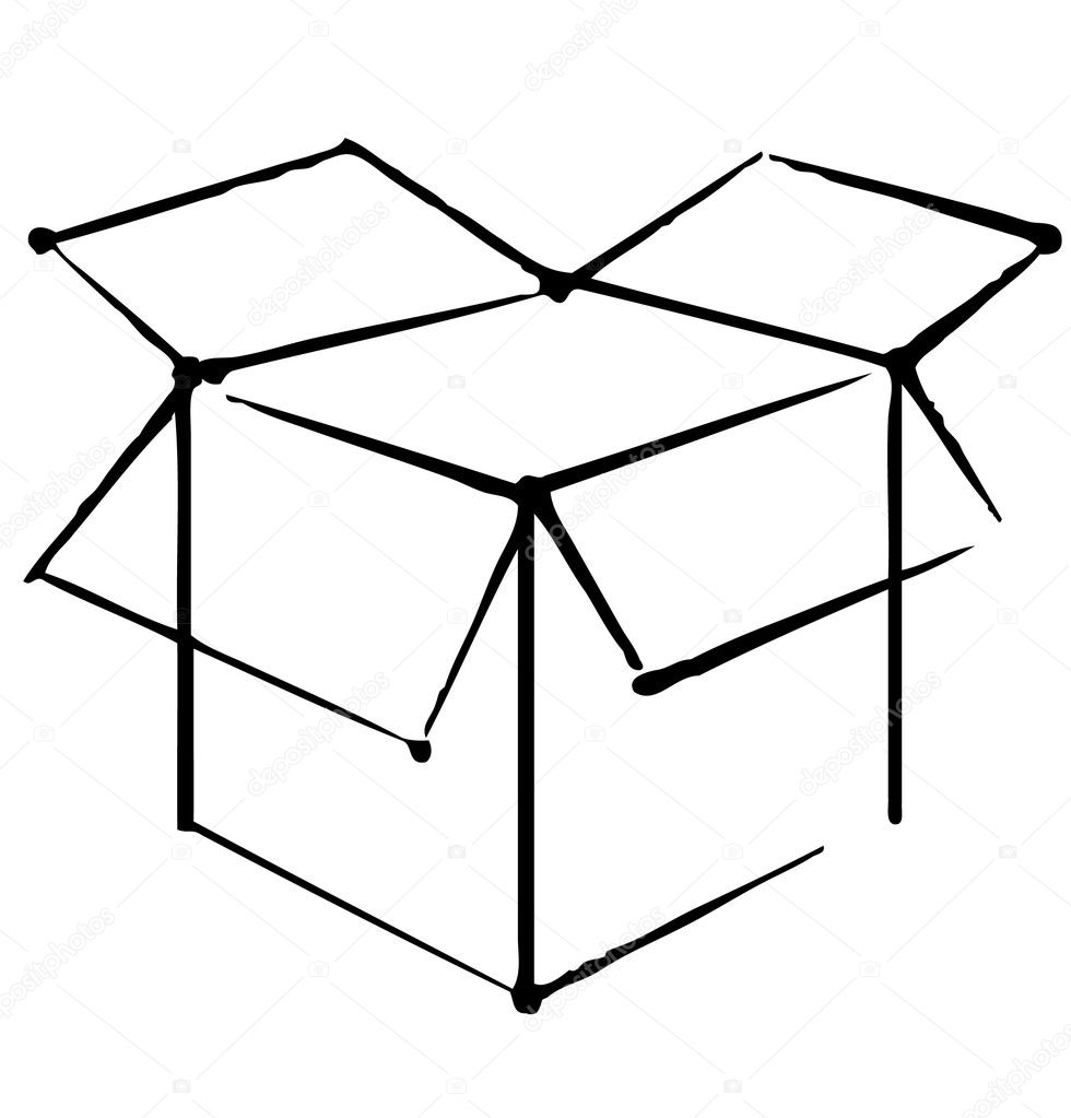 Open box icon isolated on white background. — Stock Vector