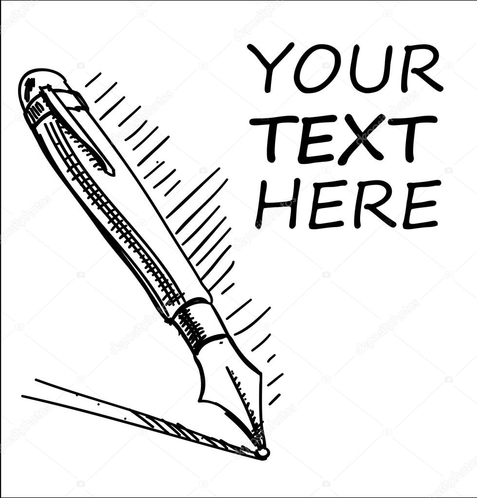 Ink pen with sample text cartoon sketch illustration