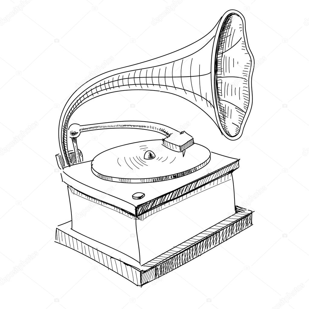 Old Record Player Drawing Sketch Coloring Page