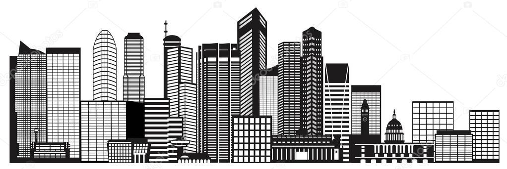 Singapur Stadt Skyline Schwarz-weiß-Abbildung