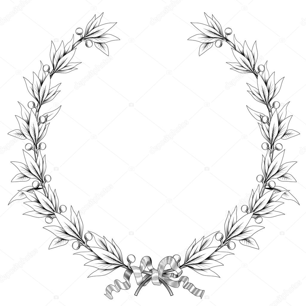 Laurel Wreath Black And White Colors