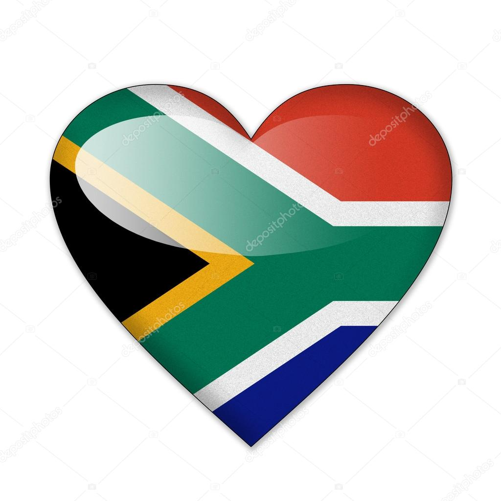 South Africa Flag In Heart Shape Isolated On White