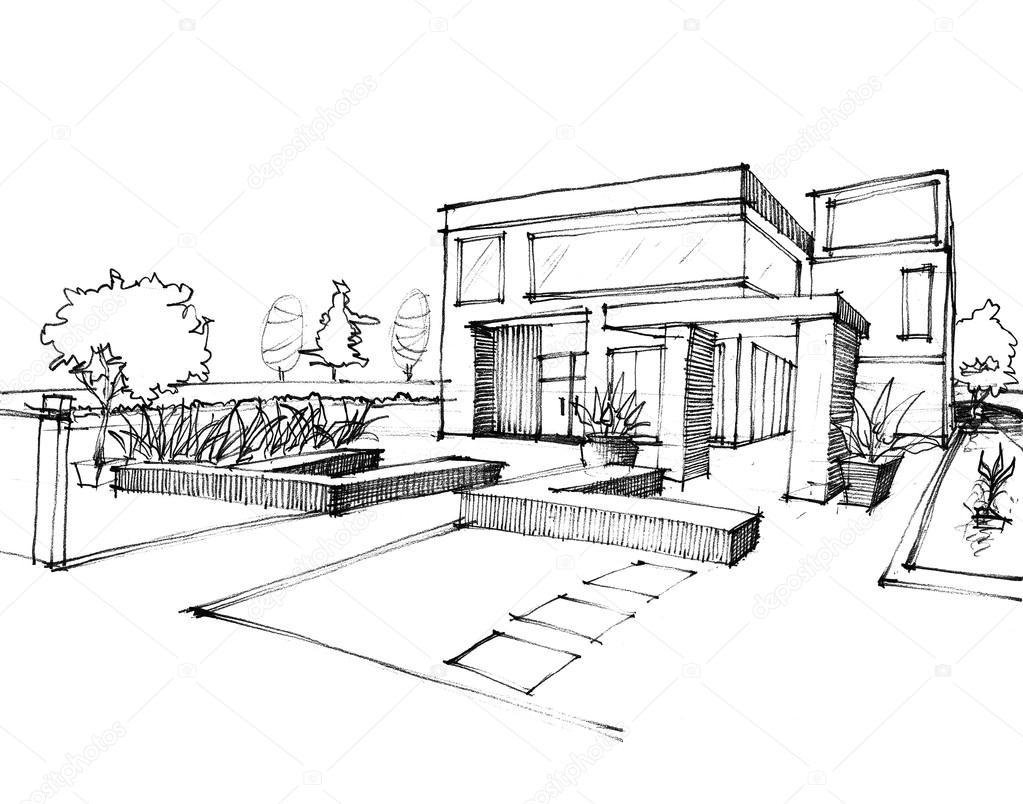Home Sketch design on white paper — Stock Photo © sayhmog