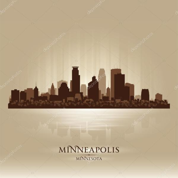 Minneapolis Minnesota skyline city silhouette Stock