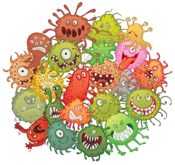 Bakteri komik vektörler | Bakteri komik vektör çizimler, vektörel grafik | Depositphotos®