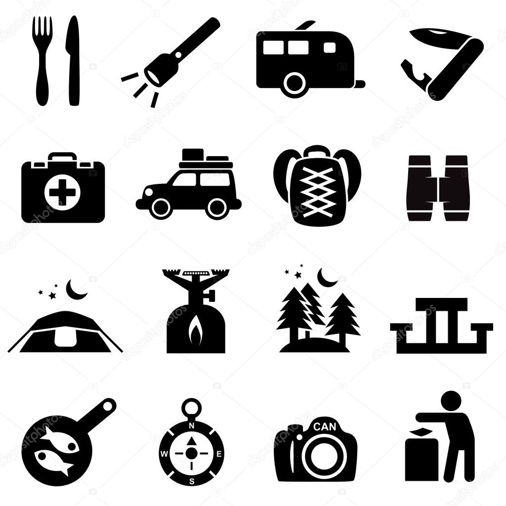 Camping icons black on white — Stock Vector © lkeskinen0