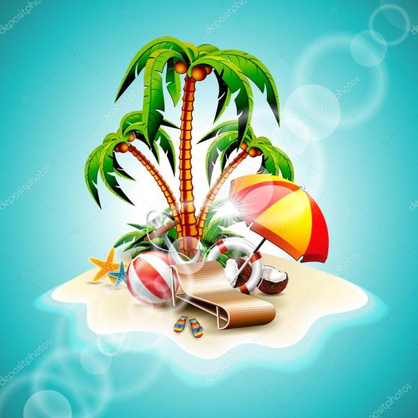 Vector Summer Holiday Flyer Design With Coconut And Paradise Island Blue Background. Stock