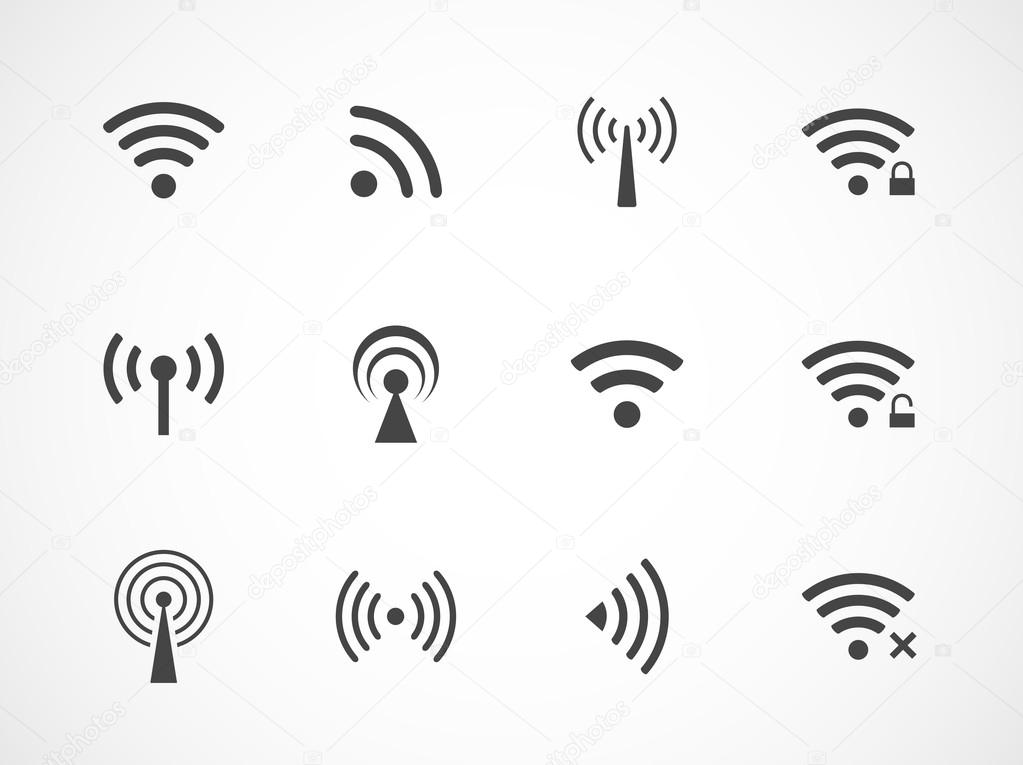 Set of different wireless and wifi icons — Stock Vector