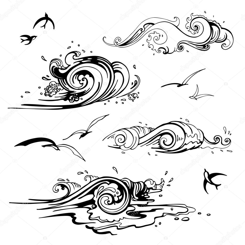 Sea waves set. Hand drawn vector illustration. — Stock