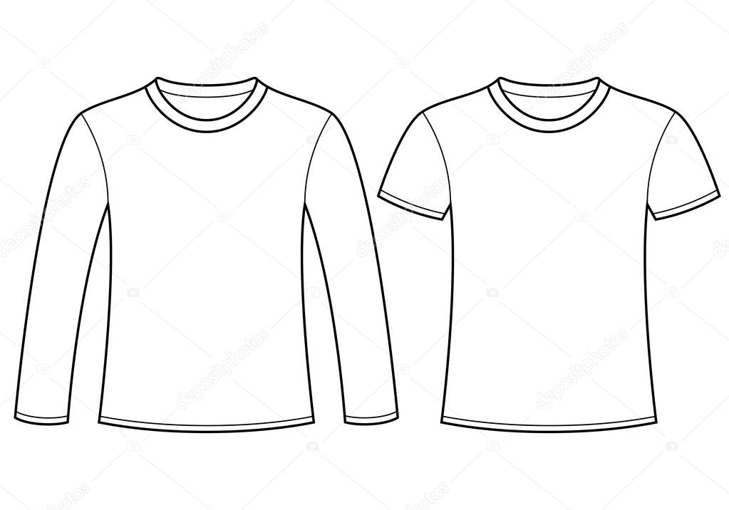 tričko s dlouhým rukávem a trička šablona — Stock Vektor