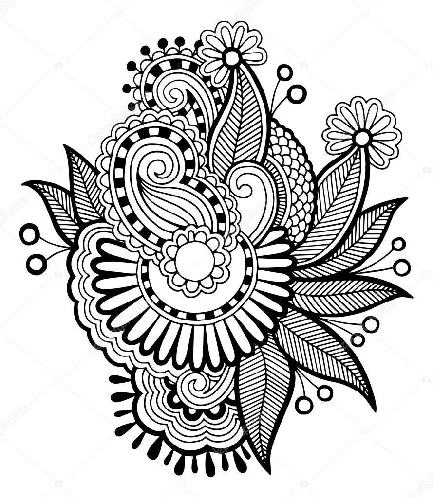 Black line art ornate flower design — Stock Vector