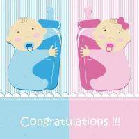 Twins Baby Boy And Girl  Stock Vector  Blondina103 #12706968
