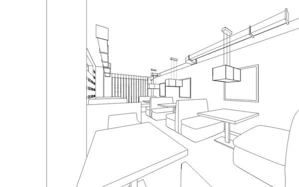 projekt restauracji. 3D grafika wnętrz — Zdjęcie stockowe