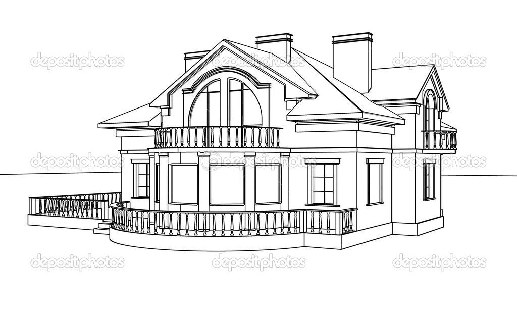 Bir ev, çizim, eskiz — Stok Foto © sergeymansurov #30934691