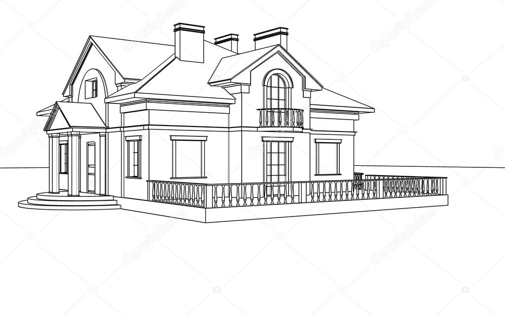 Drawing, sketch of a house — Stock Photo © sergeymansurov
