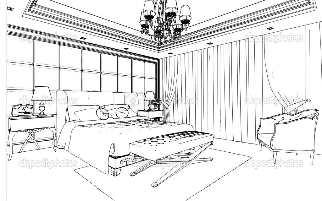 Intérieur de chambre à coucher classique conçu dans les