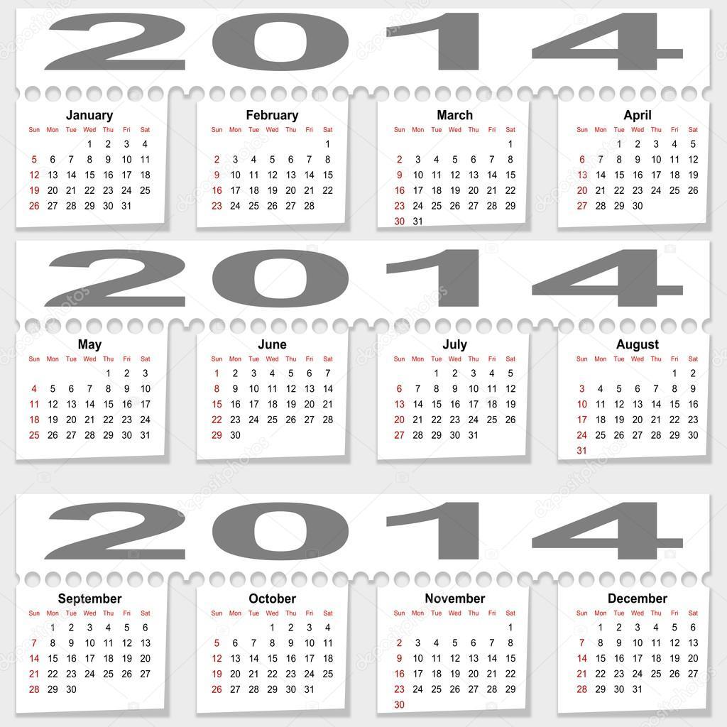 Разрывной ежемесячный календарь на 2014 год — Стоковое