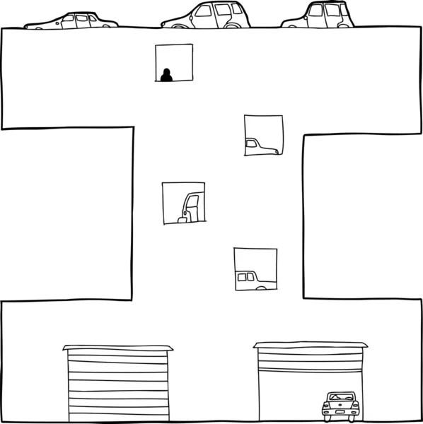 Cartoon multi-level parking garage — Stock Vector