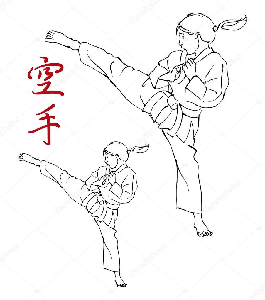 Karate Girl and Kanji — Stock Vector © forestpath #29146103