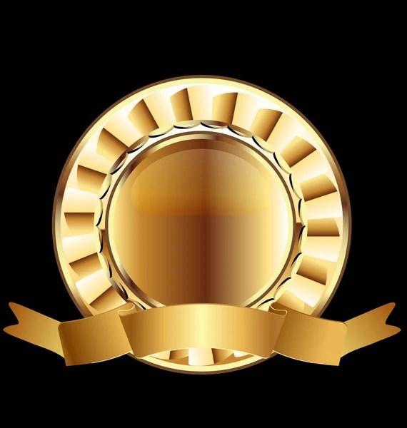 Gold seal ribbon emblem ready to use Stock Vector