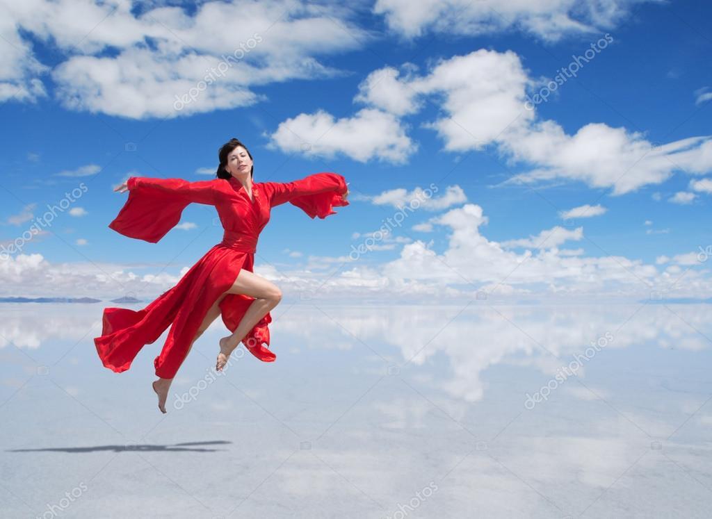 Snow Falling Live Wallpaper Download Flying Woman In Red Kimono Stock Photo 169 Rod Julian