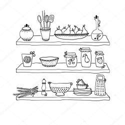 kitchen dibujo shelves utensils drawing vector sketch cocina utensilios dibujos google dibujar depositphotos estantes vip2807 alzada mano sign anaquel