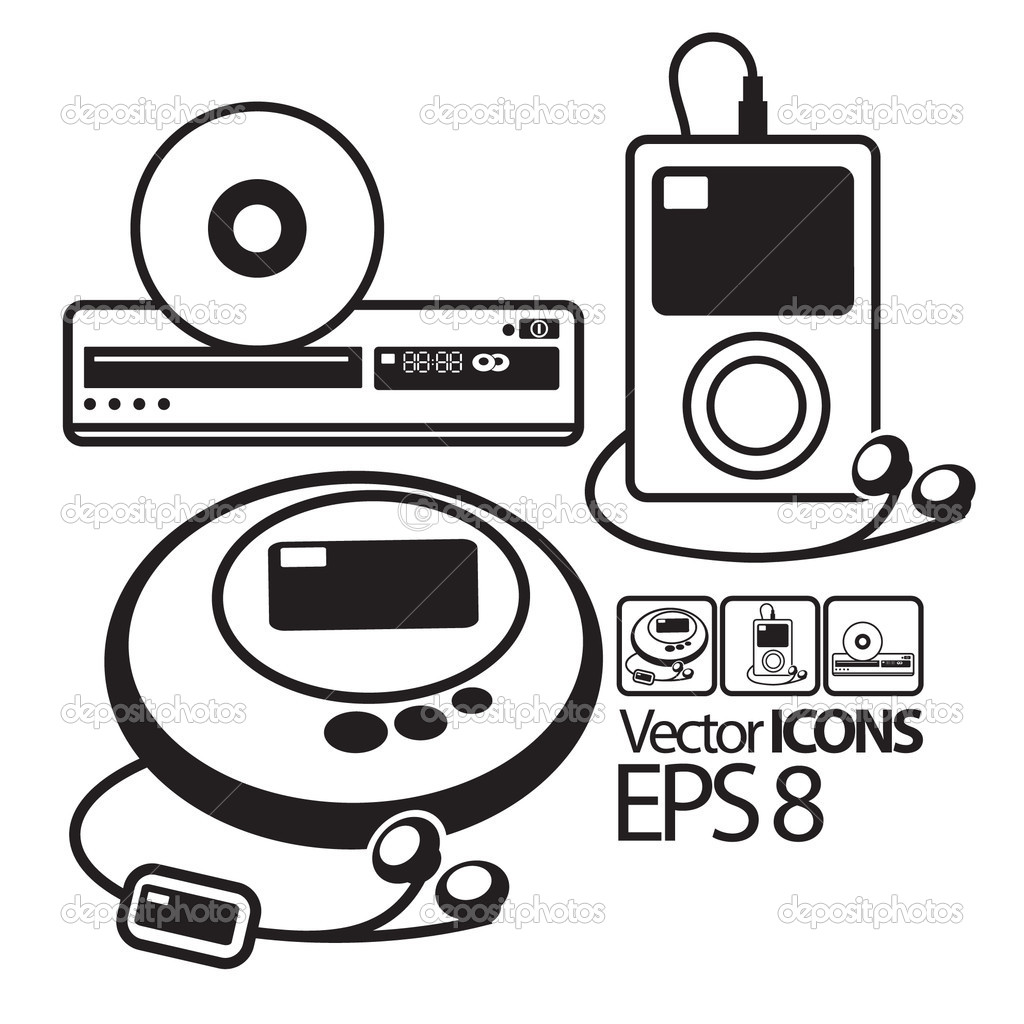 Vector Icons. MP3 player, CD player and DVD player — Stock