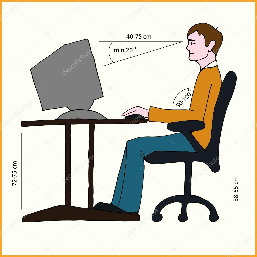 proper chair posture at computer camping reviews correct sitting  stock vector eveleen 28109555