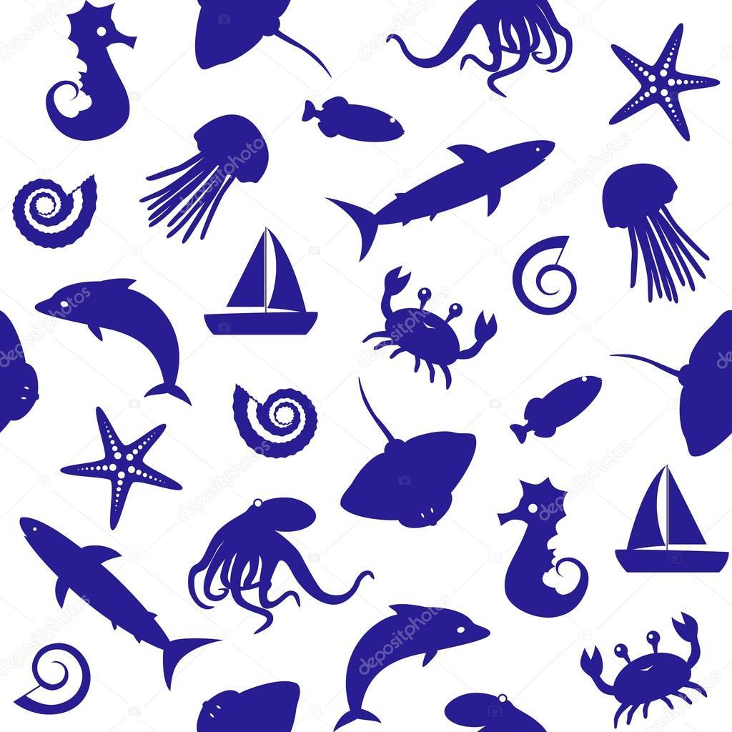 無縫模式與海洋生物剪影 — 圖庫矢量圖像© ekazansk #45175665