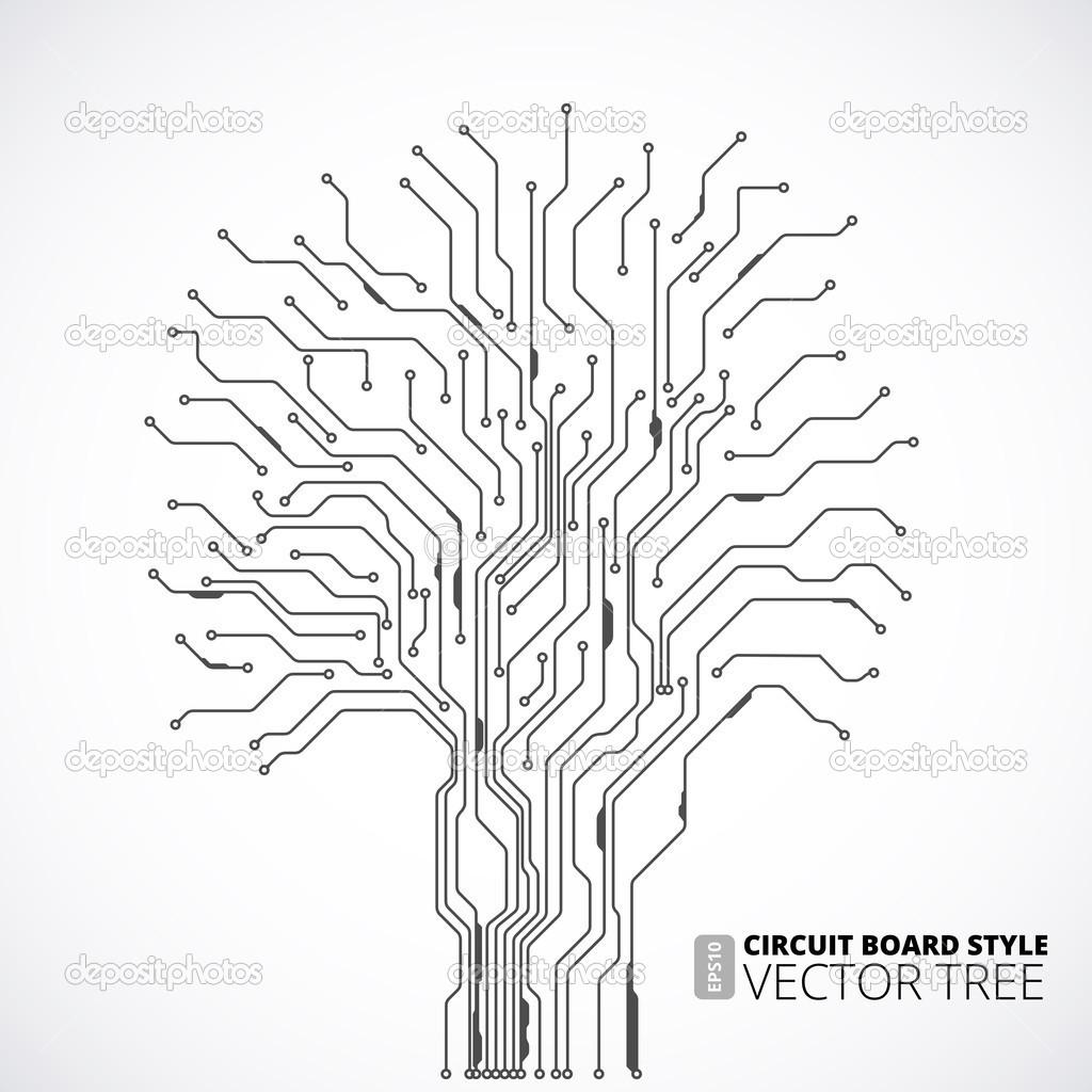 sfondo albero circuito stampato — Vettoriali Stock
