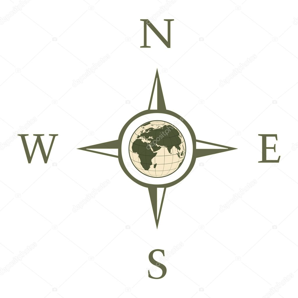 Compass illustration with north south east west — Stock Photo © kunz #22675513