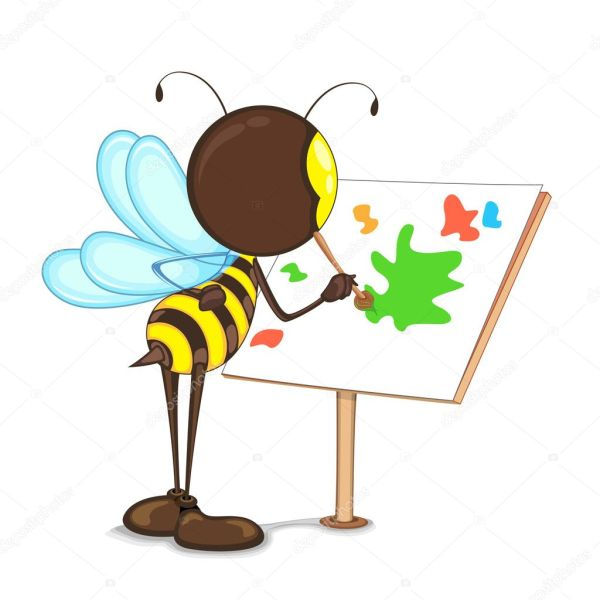 Bee Painting Easel Stock Vector Stockshoppe #11611288